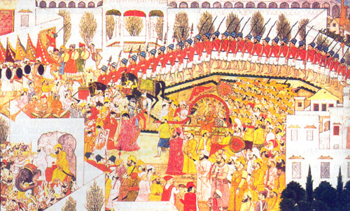 Maharaja Sansar Chandra entering Bilaspur with his army (trained by the Irish Col. O. Brian)