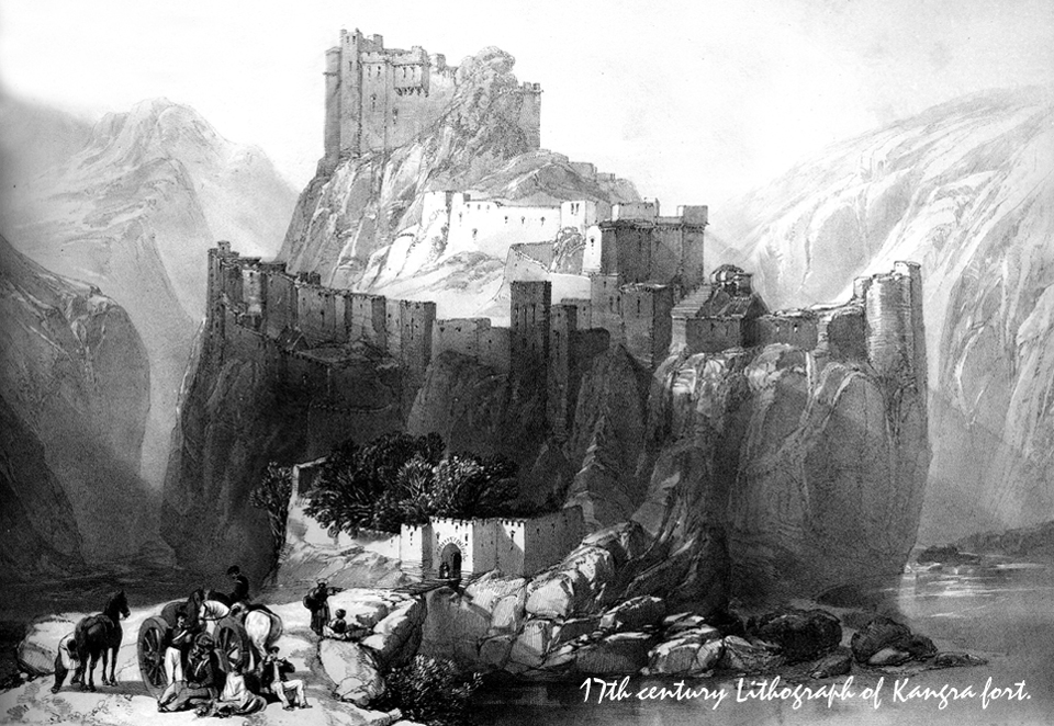 17th century Lithograph of Kangra fort.