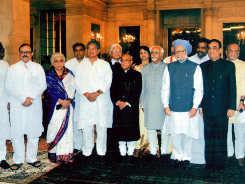 Rani Chandresh Kumari with President of India Mr. Pranab Mukharjee, Prime Minister of India - Mr. Manmohan Singh &  co-appointed cabinet ministers.